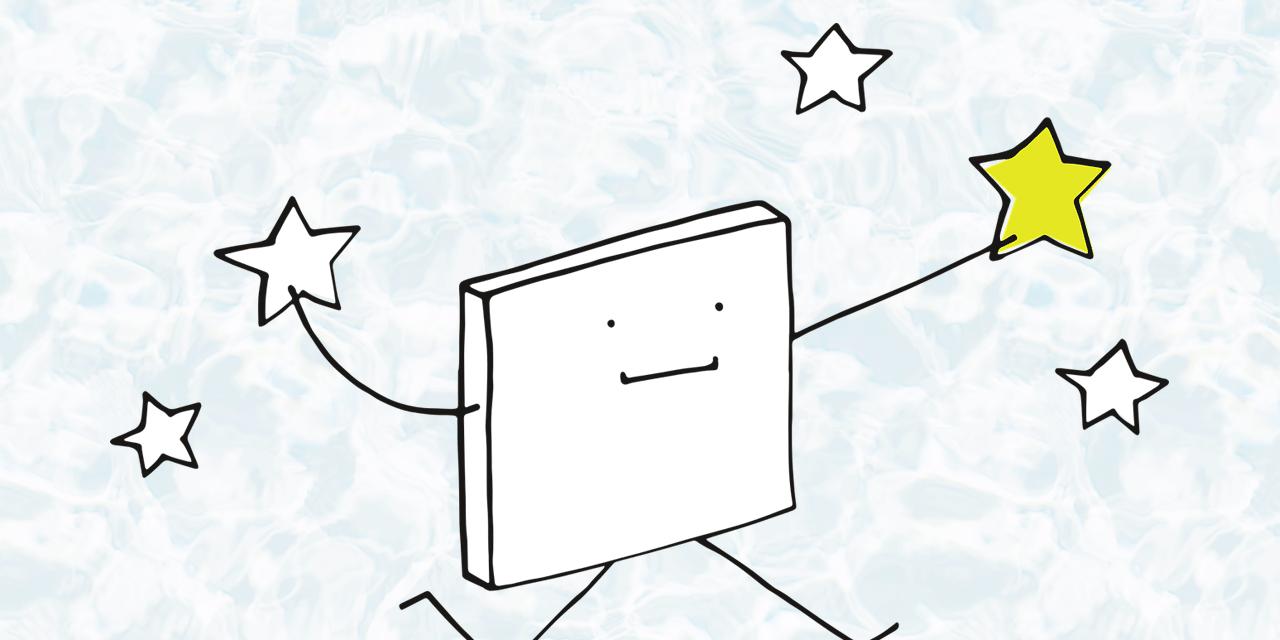 pixel Zeichnung mit Stern in der hand