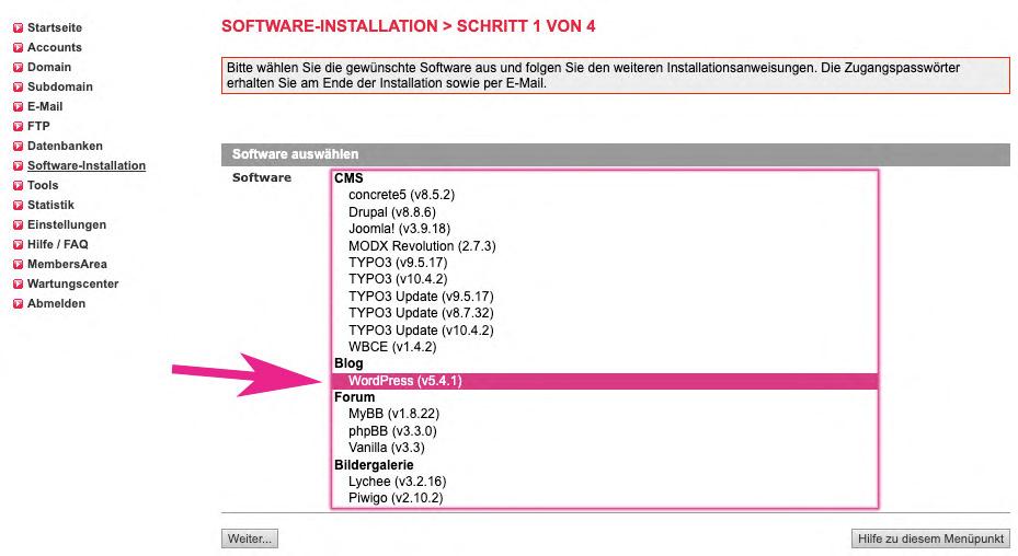 Wordpress Installation 1